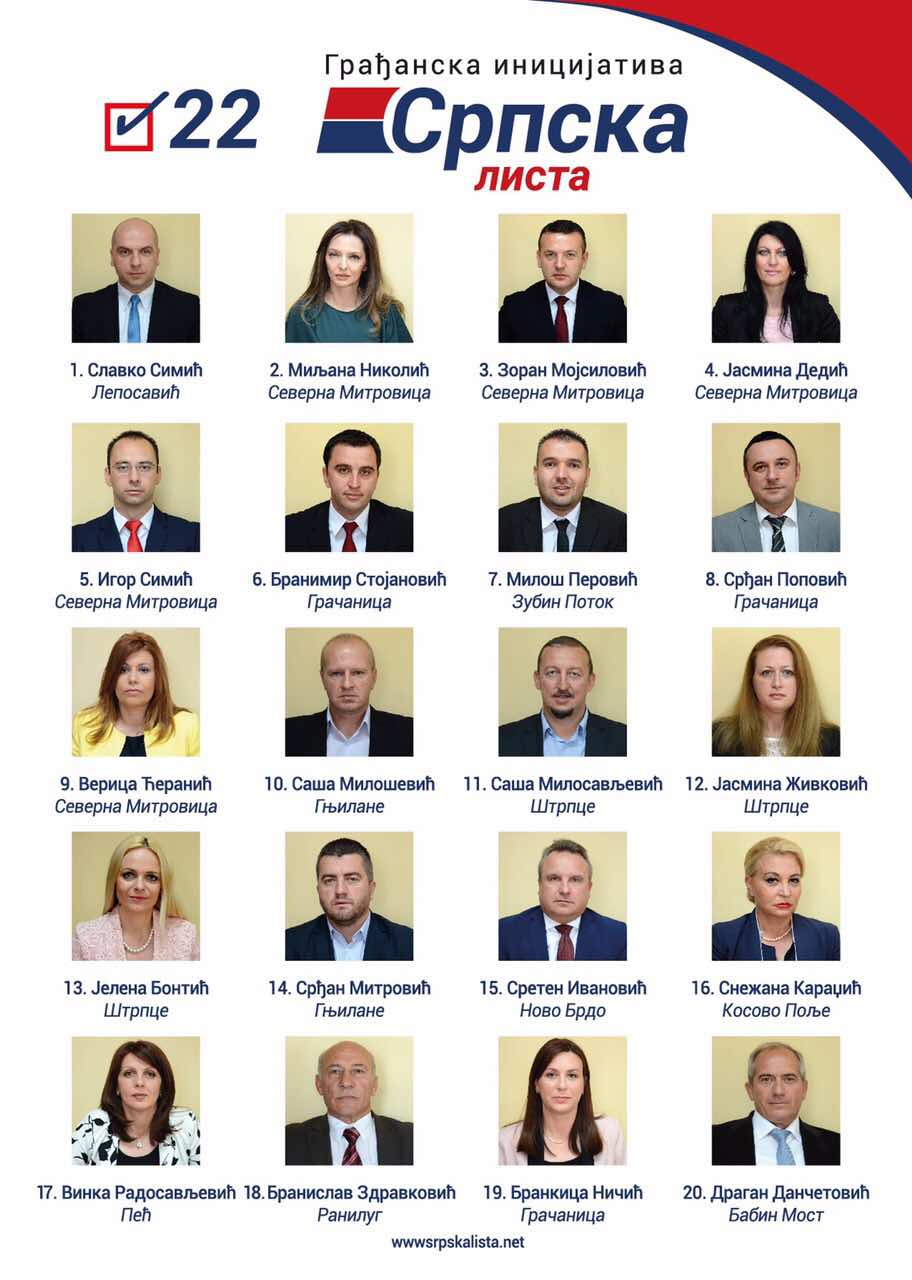 Српска листа - кандидати за посланике - 2017