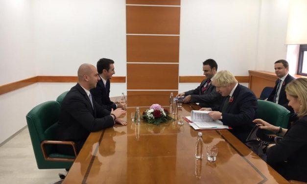 Sastanak sa ministrom spoljnih poslova Velike Britanije Borisom Džonsonom